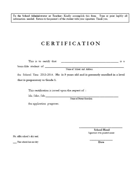 certification letter for school certificate of enrollment images frompo