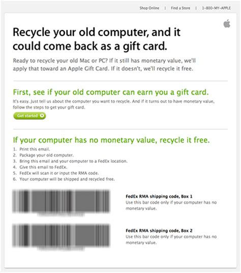 Apple Gift Card Recycling Program - it pays to recycle your computer with apple