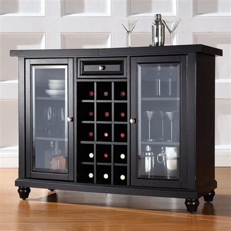 cambridge sliding top bar cabinet in black modern wine and bar cabinets
