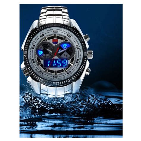 Jam Tangan Analog Digital Led Stainless Steel Date Day tvg jam tangan sporty digital analog km 468 black jakartanotebook