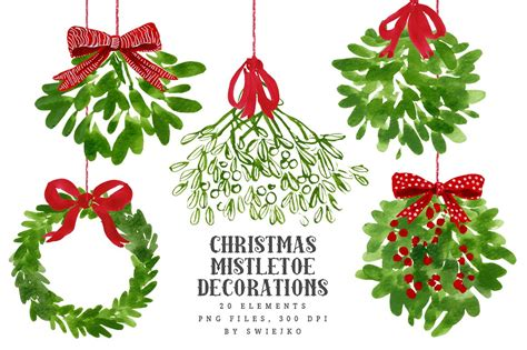 mistletoe christmas clip art by swiejko on creativemarket