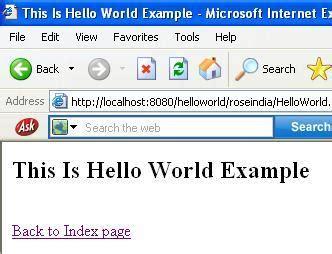 html tutorial hello world developing hello world application