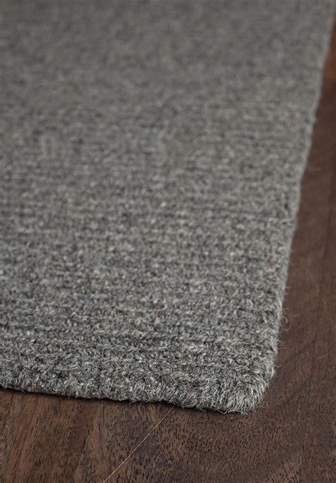 wool loom hooked rug solid grey hook loom
