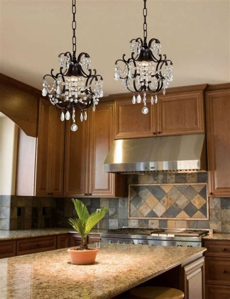 Attractive Wrought Iron Kitchen Island Lighting With Kitchen Island Chandelier Lighting