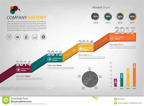 Timeline & Milestone Company History Infographic In Vector