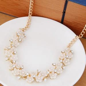 Sale Kalung Korea Two Flower Pattern Decorated Shape Perfume Bot korean fashion sweet tiny flowers golden necklace white