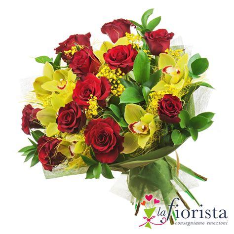 fiori di das mazzo rosse e orchidee gialle consegna gratis