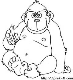 preschool coloring pages gorilla image