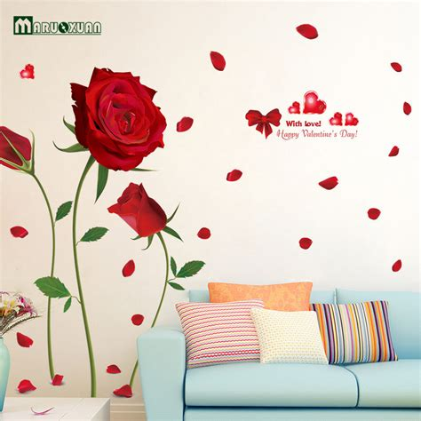 romantic red rose flowers wall decals living room bedroom new removable romantic red roses quote wall stickers