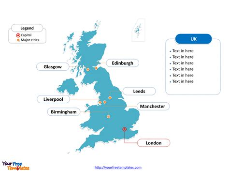 map of the united kingdom with major cities free united kingdom powerpoint map free powerpoint templates