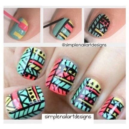 tutorial nail art aztec how to tribal nail art design manicure nails