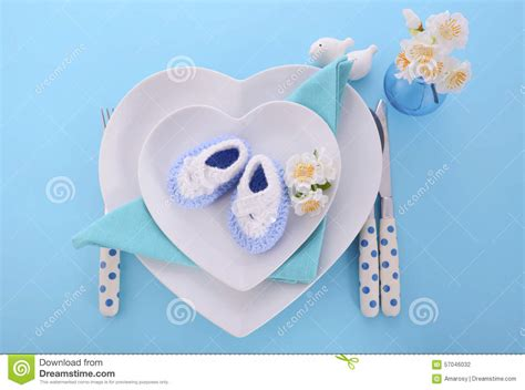 baby shower place settings its a boy baby shower table place setting stock photo