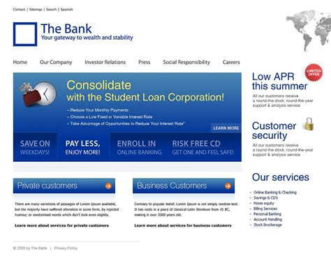 templates for banking website free download bank website template 21280