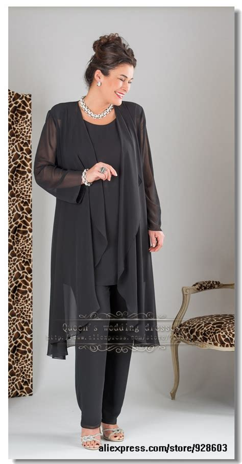 plus size dressy pant suits for weddings plus size elegant black three picec mother of the bride