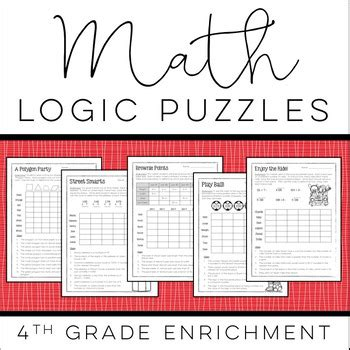 printable logic puzzles for grade 5 math logic puzzles 4th grade enrichment by christy howe