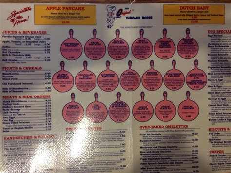 original pancake house menu menu in whole picture of the original pancake house chaign tripadvisor