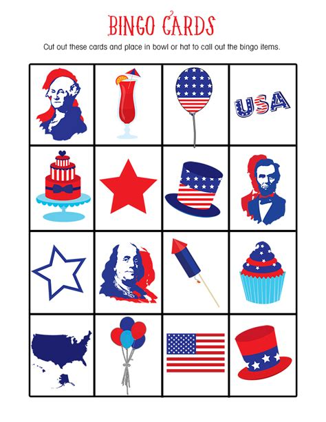 day bingo free 4th of july bingo printable lil