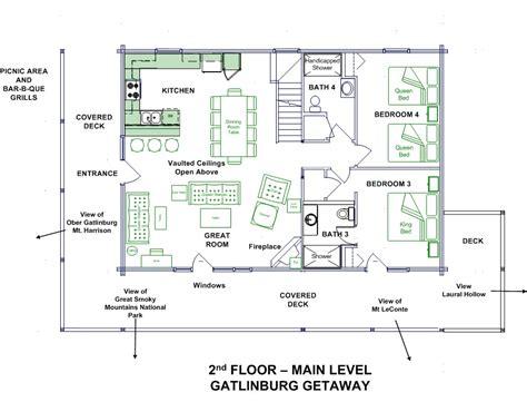 main level floor plans gatlinburg getaway log home floor plans
