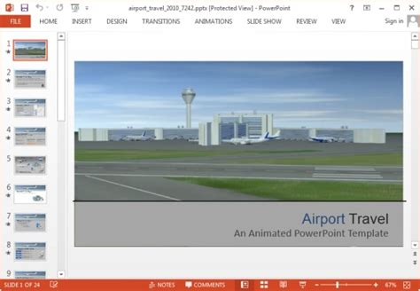 Animated Airport Powerpoint Templates Powerpoint Airport Ppt Template Free