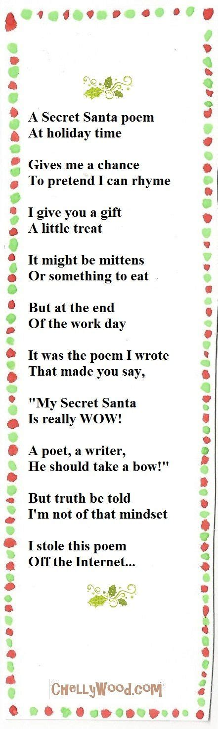 poem for late xmas gift the 25 best secret santa poems ideas on secret santa secret santa messages and