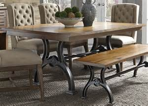 Dining Room Table Bases Metal Liberty Furniture Arlington 411 Trestle Table With Metal