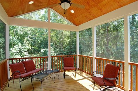 screen porch with stained ceiling screen porch