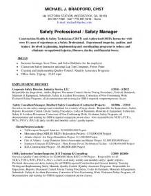 Health And Safety Coordinator Sle Resume by Michael Bradford Chst Ahsm Safety Professional Resume