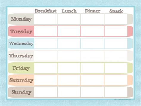blank meal plan printable 8 best images of printable menu planner free printable