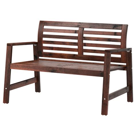 ikea wooden bench 196 pplar 214 bench with backrest outdoor brown stained ikea