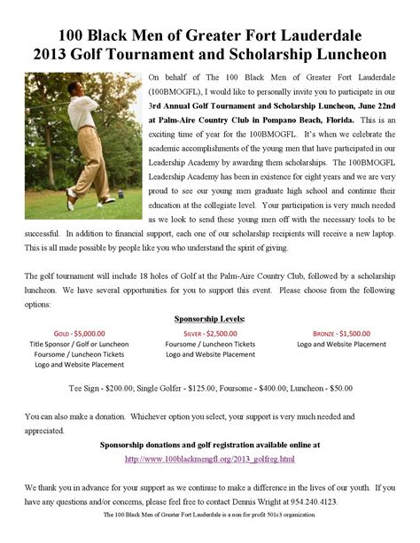 College Sponsor Letter Sle sle sponsorship letter for charity golf tournament 28
