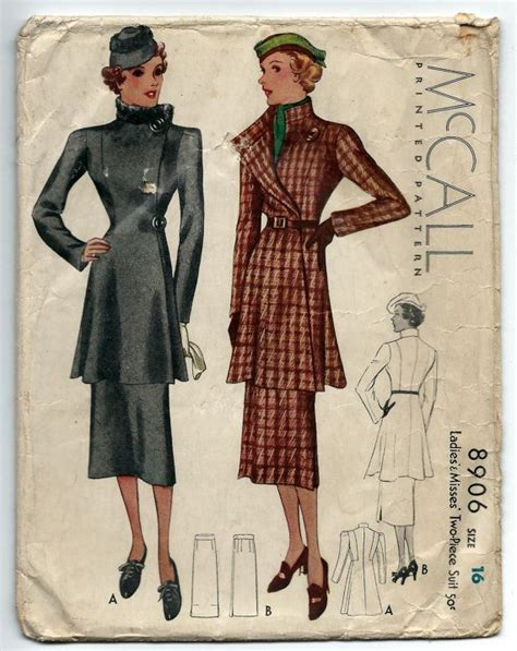 vintage pattern lady mccall 8906 ca 1936 ladies misses two piece suit