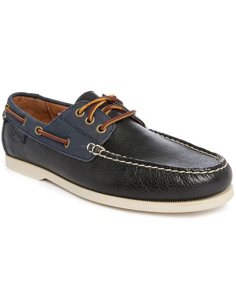 polo boat shoes polo ralph calfskin boat shoe in blue for navy