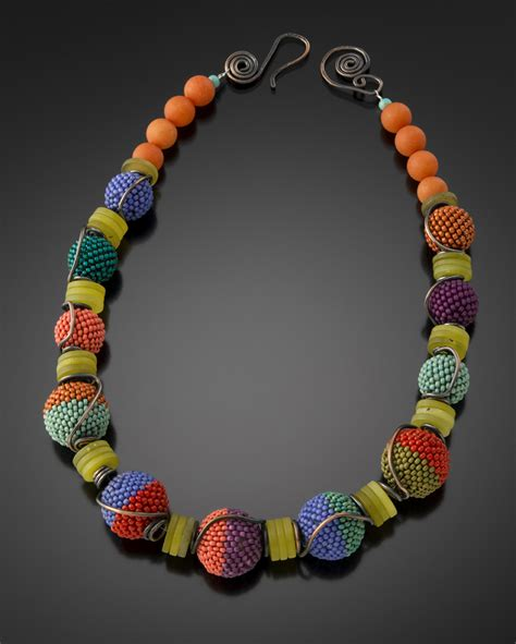 the bead jewelry tumbling beaded necklace julie powell design