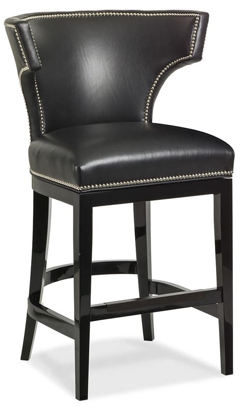 Black Leather Curved Back Bar Stool | black leather curved back bar stool