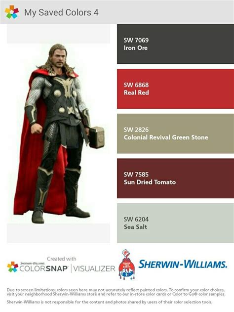thor colors thor i just created this color palette with the sherwin