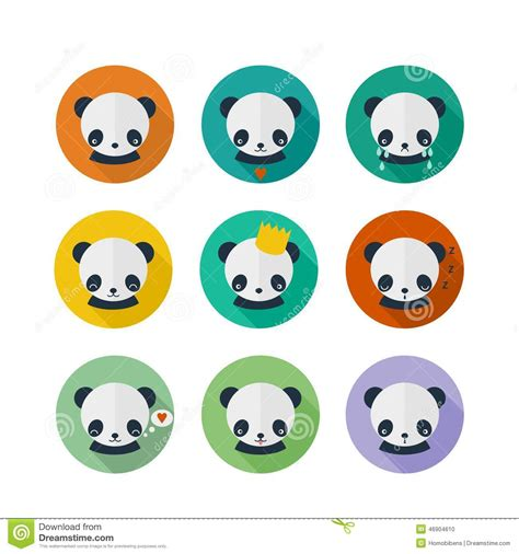 design icon cute panda vector icons set in flat design stock vector image