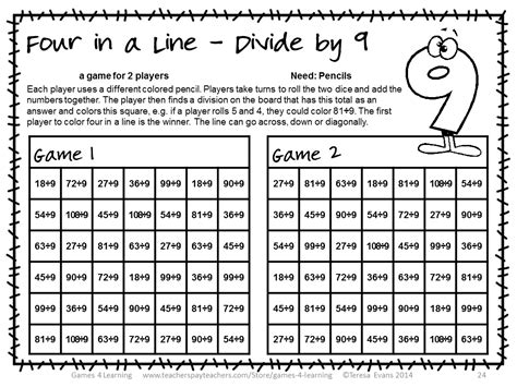 printable math division board games division games no prep longest line