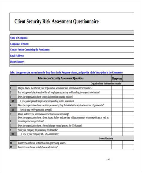 risk assessment security survey template 9 exles of risk assessment questionnaires