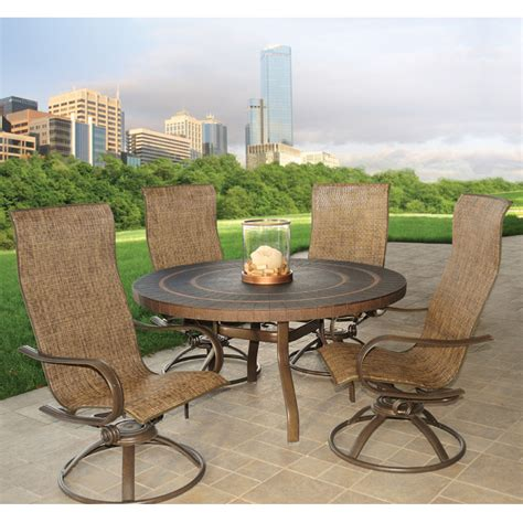 High Patio Dining Sets Homecrest Hill Sling High Back Swivel Rocker Patio Dining Set Furniture For Patio