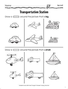 transportation station big small printable skills sheets