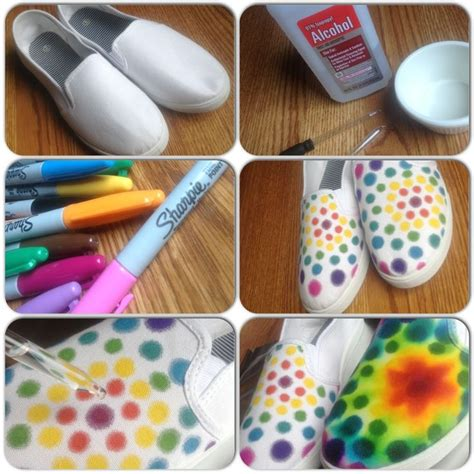 tie dye shoes diy rainbow sharpie with blender on canvas shoes