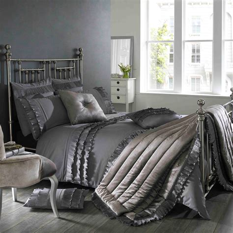 Grey Bedspread Ionia Kitten Grey Bedding Set Next Day Delivery