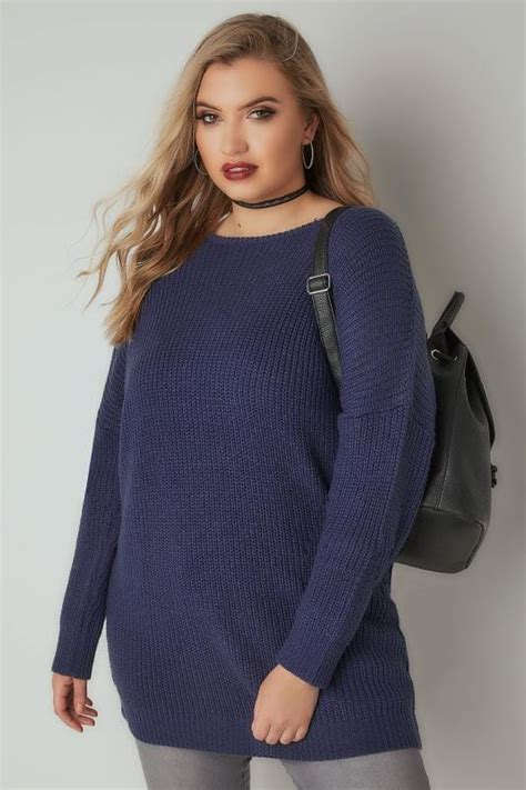 Cytk Tunic Ms Denim Light Blue denim blue chunky knit jumper with v back cut out plus