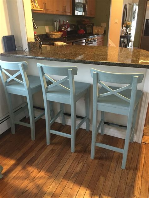 ikea counter stools painted  annie sloan chalk paint  duck egg blue kitchen chairs