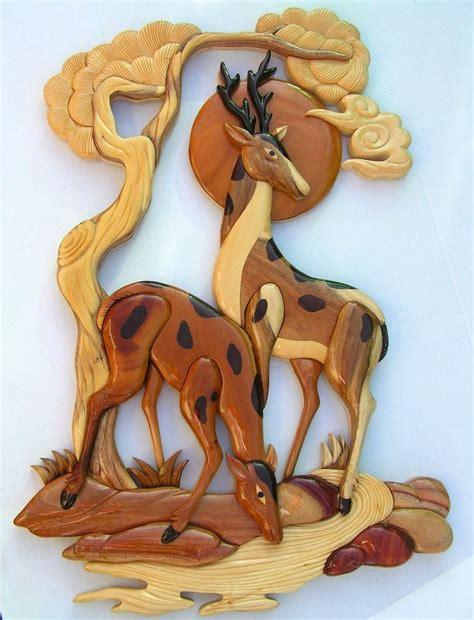 details  deer mates animal art intarsia wood picture