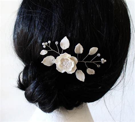 Bridal Flower Hair Pin bridal flower hair pin white poppy hair pins bridal