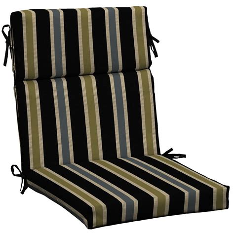 Black Patio Chair Cushions Hton Bay High Back Outdoor Chair Cushion In Black Ribbon Stripe The Home Depot Canada