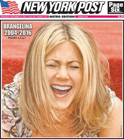 Brad To Jen Dump Your New by Aniston On Ny Post Cover Laughs
