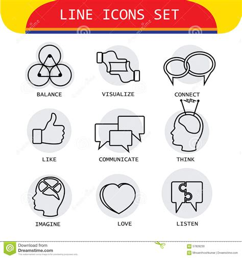 think line vector line icons of human actions like loving listening