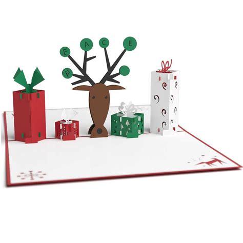 rugged pop up cers 3d reindeer with presents pop up card lovepop